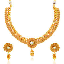 women necklace design images Sukkhi eye catchy jalebi design gold plated necklace set for women jpg