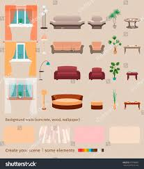 Design Your Own Home Interior Set Domestic Living Room Elements Furniture Stock Vector 579780883