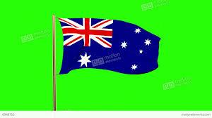 australia flag waving in the wind green screen alpha matte