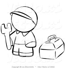 tool coloring pages vector of contractor person with his tool box coloring page