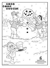 sesame street snowman colouring treehouse
