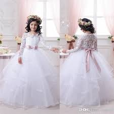 2016 white flower dresses for weddings long lace sleeve girls