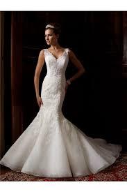 mermaid v neck low back organza lace wedding dress