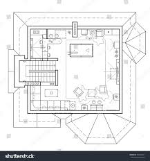 black white architectural plan house layout stock vector 598403351