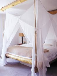 furniture rustic canopy bed with sheer drapes and log bed frame