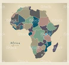 Africa Continent Map by Modern Map Africa Continent With Countries Political Colored Stock