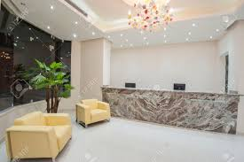 interior design of a luxury hotel resort lobby reception area