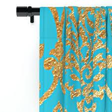 Teal Damask Curtains Gold Damask Curtains Teal Gold Mermaid Damask Pattern Window