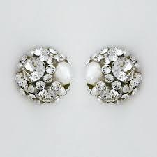 button earrings gabriel bridal jewelry celeste pearl button earrings