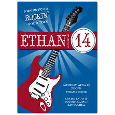 guitar tween birthday party invitations paperstyle