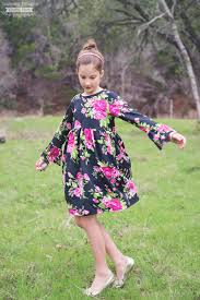 free bell sleeve t shirt dress pattern size 3 to 12 scattered