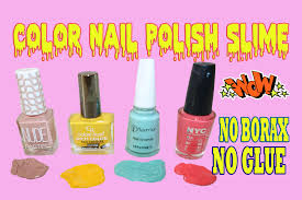 color nail polish slime easy to make without glue without borax