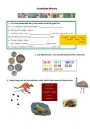 esl worksheets for beginners australian money