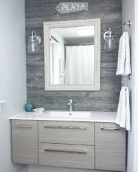 Powder Room Mississauga - classic grey reclaimed barn board feature wall in a toronto area