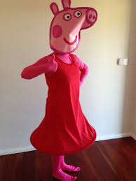 peppa pig halloween diy peppa pig costume head paint and cardboard dress red fabric