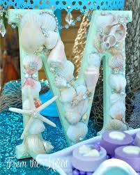Mermaid Decorations For Party Sea Shell Letter From A Vintage Glamorous Little Mermaid Birthday