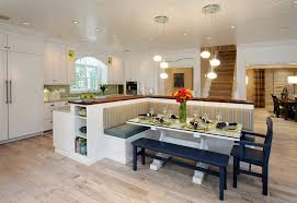 breakfast nook benches kitchen contemporary with light wood floor