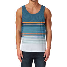 Swedish Blue Rip Curl Essential Stripes Tank Vest Swedish Blue Free Delivery