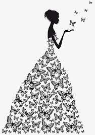 wedding dress sketch beauty vector flat butterfly wedding dress