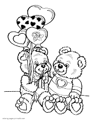 valentine day coloring pictures two teddy bears