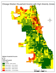 Chicago Demographics Map by Chicago And Houston High Amenity Zone Map Comparison Simply Maps