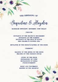 wedding program wedding programs match your colors style free basic invite