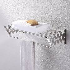 amazon com kes bathroom towel bar retractable towel rack