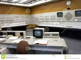 old style control room of the nuclear power plant editorial stock