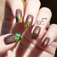 piggieluv fall nail art autumn leaves on glitter gradient easy