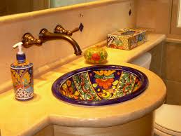 mexican bathroom ideas rustic composite countertop in mexican style bath