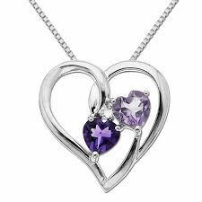 purple heart necklace images 5 0mm heart shaped purple amethyst and diamond accent heart jpg