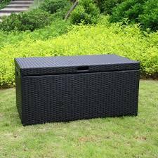 Wicker Storage Bench Patio Storage Bench Resin Wicker Deck Box Outdoor Backyard Pool