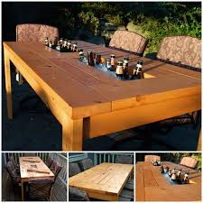 Patio Tables Wonderful Diy Patio Table With Built In Wine Cooler