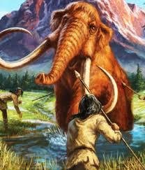 prehistoric man hunt woolly mammoth green