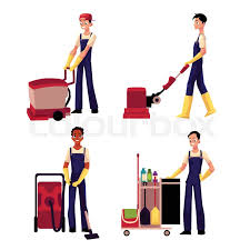 cartoon pictures of cleaning set of cleaning service boy man cleaner in overalls cartoon