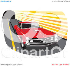 Pontiac Muscle Cars - clipart illustration of a red 1966 pontiac gto muscle car with a