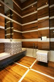 Laminate Floor Water Decoration Technique Washbasin With Artistic Pattern Large Mirror