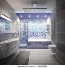 White And Blue Tiles In Bathroom Spacious Bright Modern Bathroom White Tile Stock Illustration