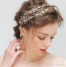 gold headpiece vintage wedding bridal leaf headband hair band jewelry crown
