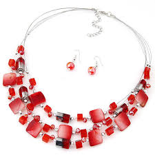 fashion jewelry red necklace images 2017 fashion jewelry sets bohemian crystal beads multi layer jpg