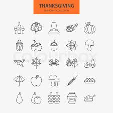 line thanksgiving day icons big set vector collection of