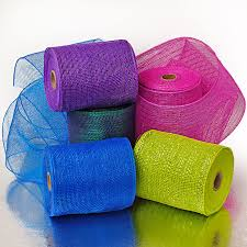 colored burlap ribbon deco mesh colored mesh mesh material jute mesh