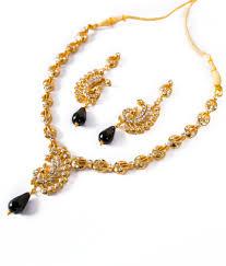 pearls gold necklace sets images Taj pearl gold plated modern design necklace set black buy taj jpg