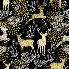 fancy christmas wrapping paper christmas fancy gold seamless pattern with deer and nature