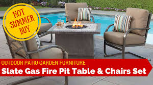 Patio Furniture Sets With Fire Pit by Outdoor Garden Patio Slate Fire Pit Heater Table Chairs Furniture