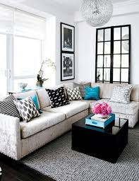 Living Room Furniture Black Minimalist Small Living Room Interior With L Shaped Sofa Set And