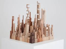 cool contemporary wood sculpture made from scrap upcyclist