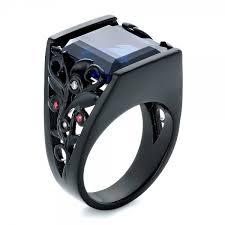 ceramic diamond rings images Custom black ceramic plated sapphire ruby and diamond fashion jpg