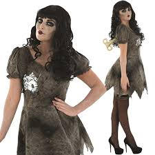 ladies wind up doll costume scary toy halloween fancy dress