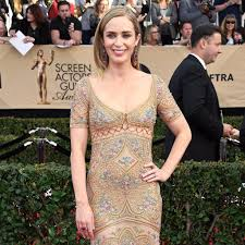 emily blunt u0027s roberto cavalli dress sag awards 2017 popsugar fashion